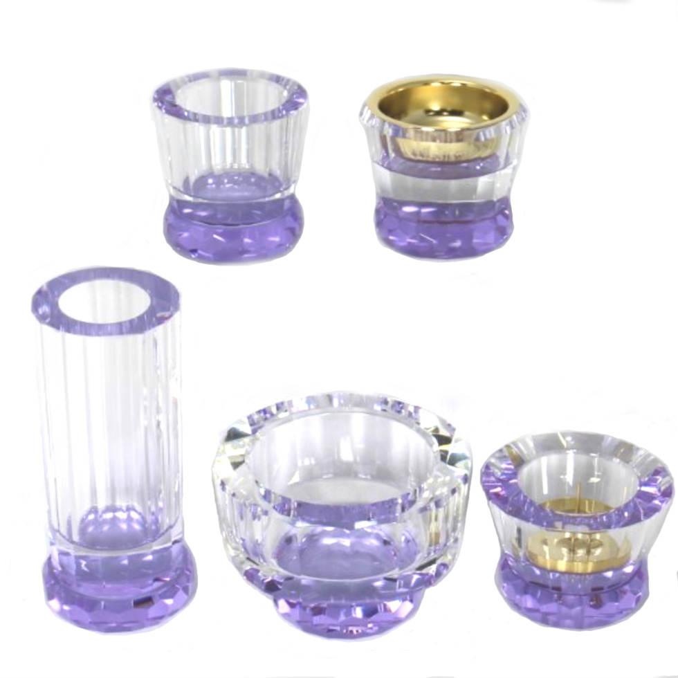 ミユウ・パープル クリスタル仏具5点セット ガラス製 紫 Miyu 心結