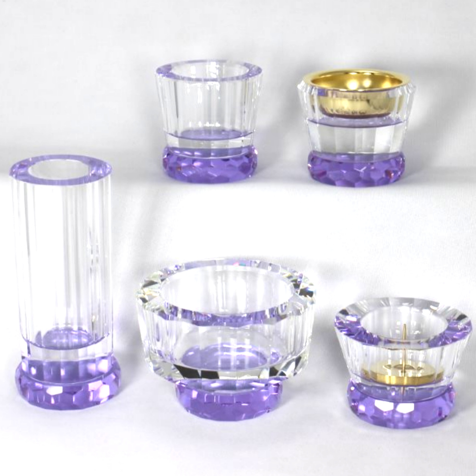 ミユウ・パープル クリスタル仏具5点セット 仏具セット 5点セット 化粧箱 ガラス製 紫