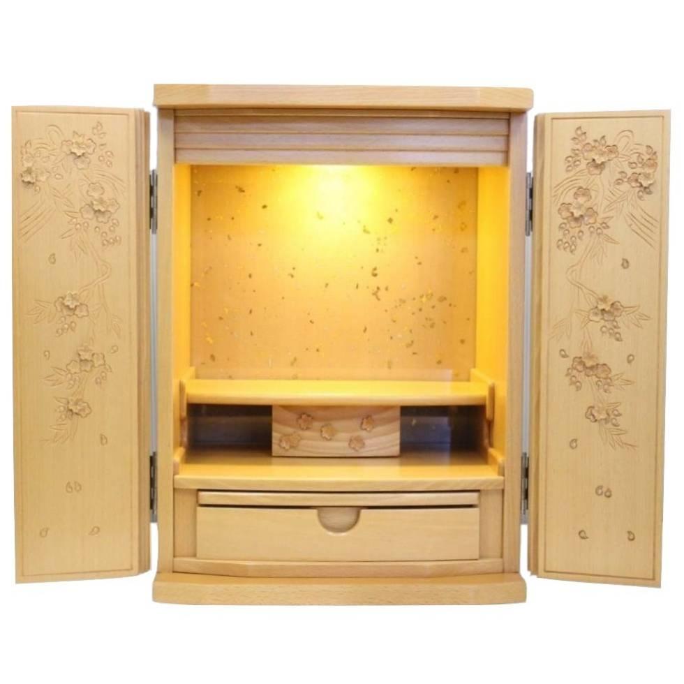 【SuperSaleクーポンあり】コンパクト仏壇 桜彫り 18号 白ケヤキ ナチュラル色