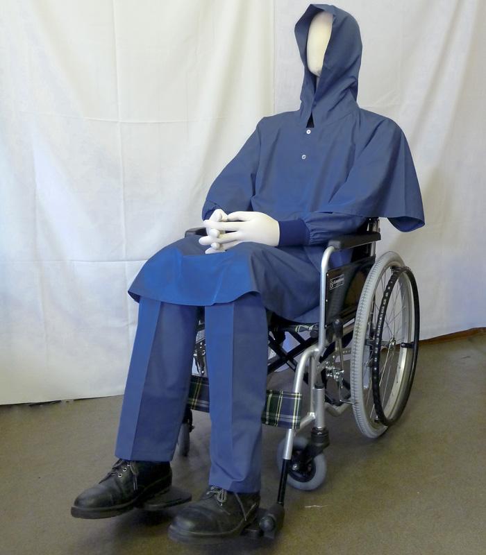 【日本流限定】撥水車椅子用ポンチョ(サイズF)[ブルー]日本製 はっ水ポンチョ 蒸れない 快適 通気性 介護 介助 車椅子用ポンチョ 雨具 朝倉染布 製造直販