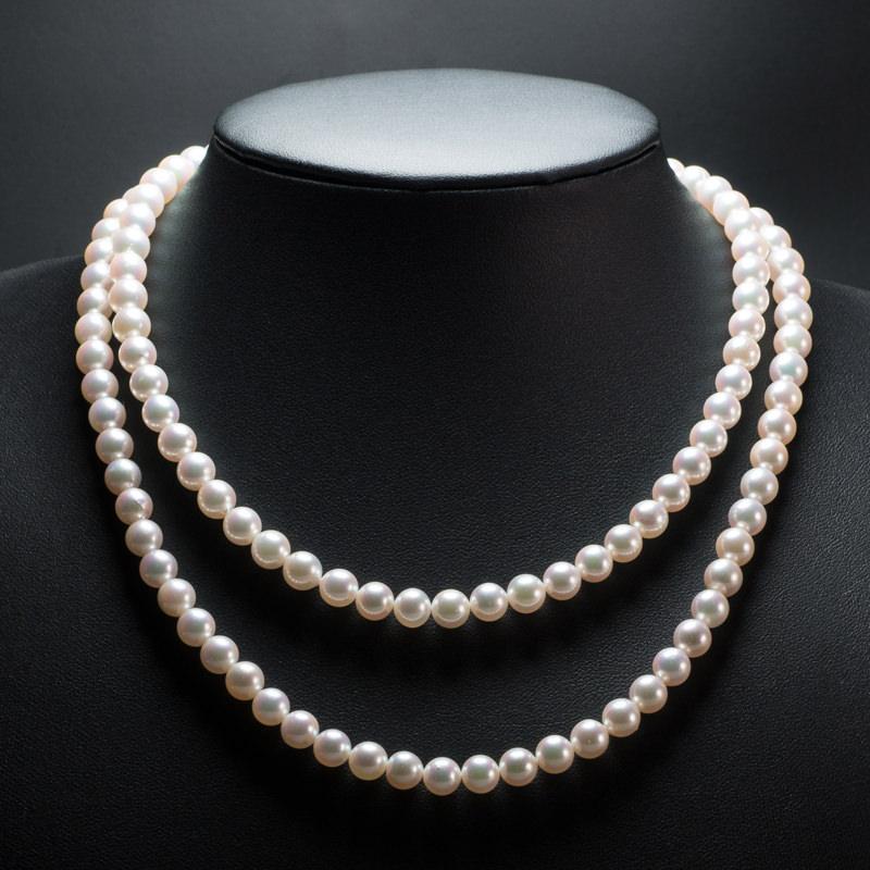 アコヤ本真珠 ネックレス 二連 ネックレス ロングネックレス 伊勢志摩産 あこや真珠 本真珠 高級
