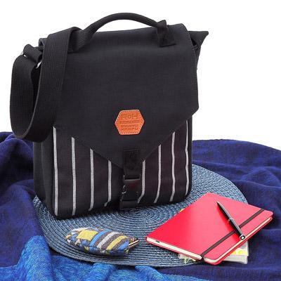 送料無料 トートバッグ 極厚の4号帆布とストライプ帆布で作った 琉球帆布 ツートンショルダー M 沖縄の風合同会社
