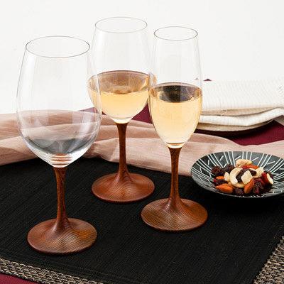 送料無料 ワイングラス 和の趣あふれる小粋なグラス! JAPAN Glass(拭き漆)SML 山久漆工(株)