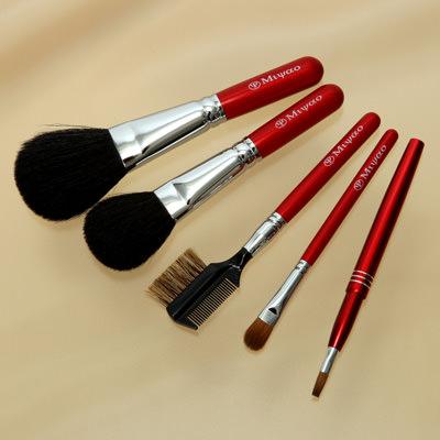 熊野化粧筆メイクブラシ5点セット [パウダー&チーク&シャドウブラシ&携帯リップブラシ&コームブラシ]レッドパール