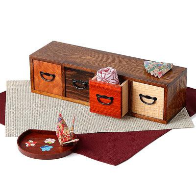 送料無料 素朴な木の温かさを感じる 京都美山産 4列小物入れ
