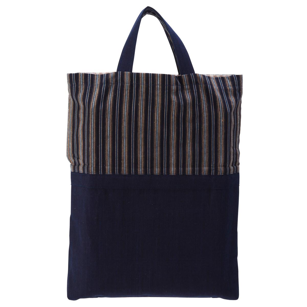 手織りバッグ 栞里の知多木綿 手提げバッグ 和風バッグ 和柄 BAG 和雑貨 トートバッグ ハンドバッグ 縦型 栞里 愛知県 送料無料