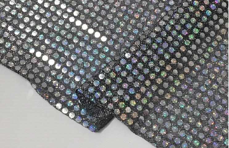 キラキラホログラムのニット 受賞店 ステージ上で輝く素材です 華やかな演出には最適 激安通販ショッピング アメリカンニットスパンホログラム大 キラキラ 100巾 シルバー 黒