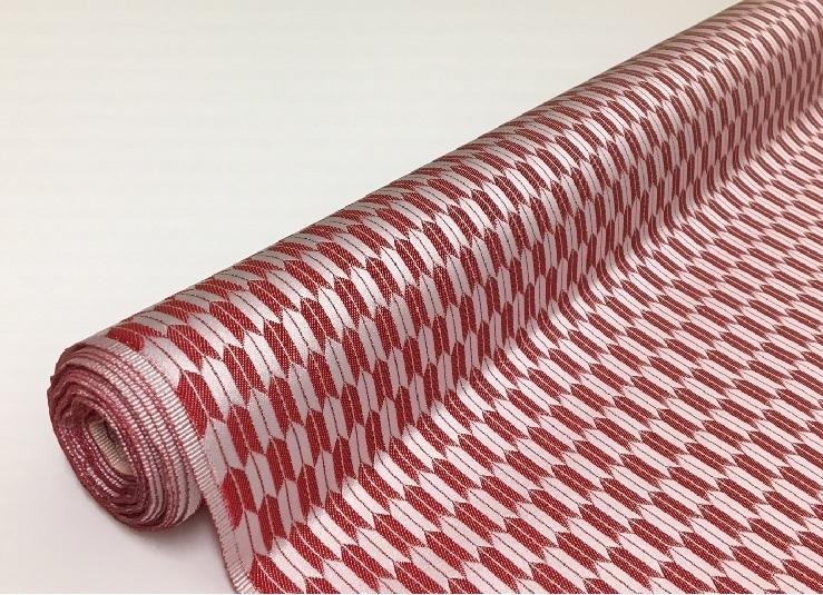 和風衣裳 よさこい衣裳に 日本製帯地でみやびやかに 日本製帯地 大人気 琳派名物裂二丁矢絣 生地 AL完売しました 布 72cm巾 赤