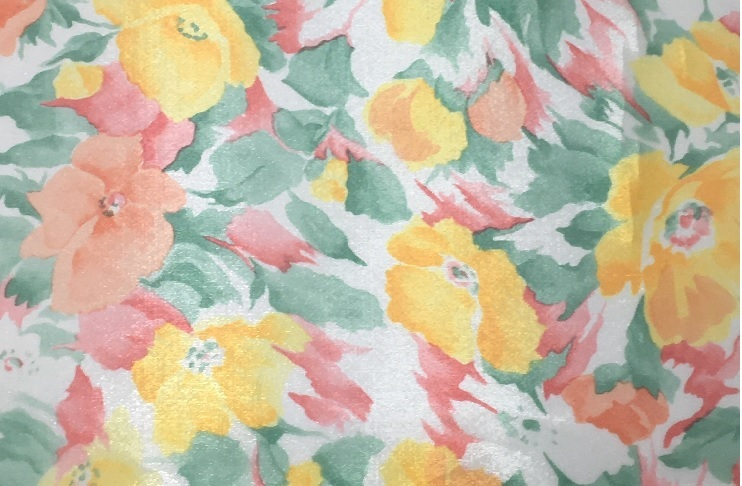 プリントされた鮮やかな色合いが魅力的です オーガンジー花柄転写プリント サービス 店