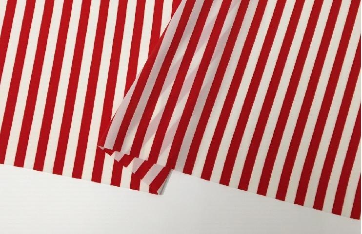 キャンペーンもお見逃しなく スカーフや婦人服 小物などに使われるのプリント生地 ファイユストライププリント オンラインショッピング 白 赤