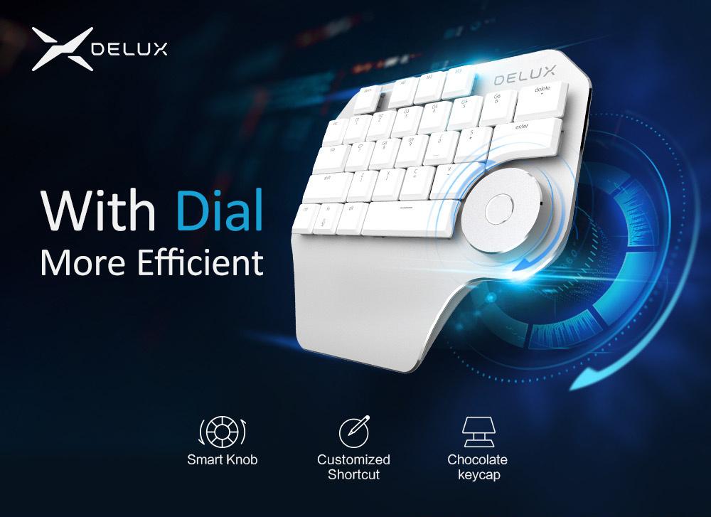 DELUX T11 Designer 最新! 左手用&右手用 キーパッド マクロ ダイヤル SurfaceDialより高性能 ブラック 送料無料