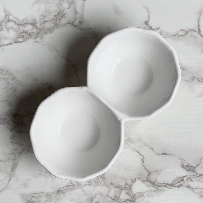 【1つの食器で2種類入る】 小鉢 白磁 おしゃれ (190ml二連)【オードブル 仕切り ボウル 軽い レンジOK 強化磁器 アウトレット 訳あり カフェ アトリエ】