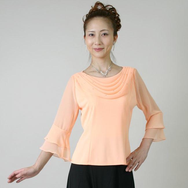 コーラスブラウス コーラス衣装 合唱衣装(9号~15号)オレンジ シフォンドレープブラウス