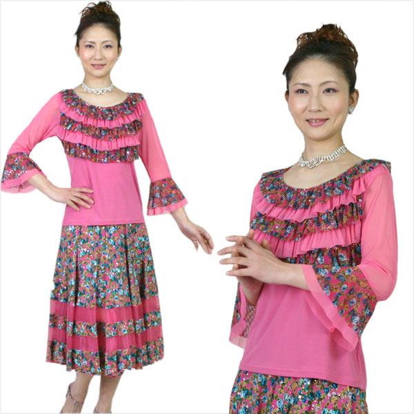 社交ダンス カラオケ衣装 ブラウスとスカートのセット ピンク花柄