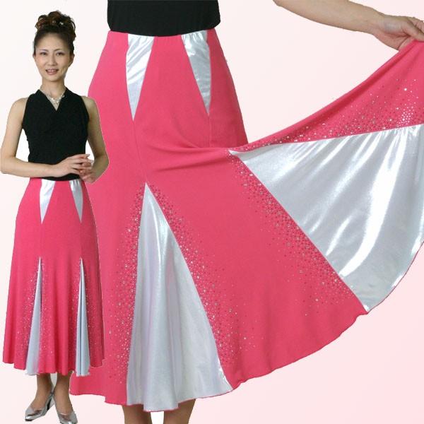 ダンス衣装 社交ダンス ロングスカート きらきらライトストーン付き・ピンク
