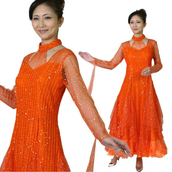 ロングドレス チュールレース舞台衣装 社交ダンス演奏会カラオケなどのステージ衣装に! オレンジ