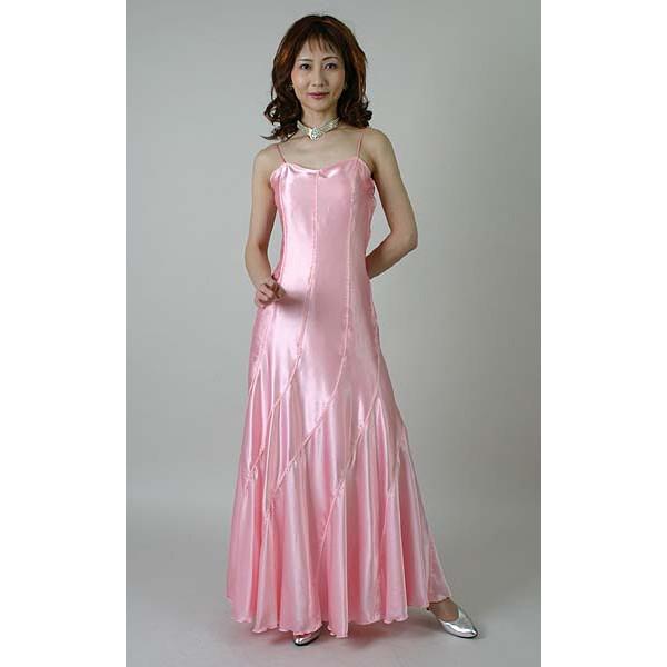光沢サテンのロングドレス(5号)国産ピンク/演奏会用ドレス/ステージドレス