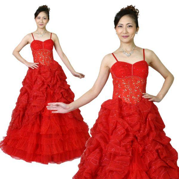 カラードレス(13号)/ビビットな色がひときわ目立つブライダルドレス赤