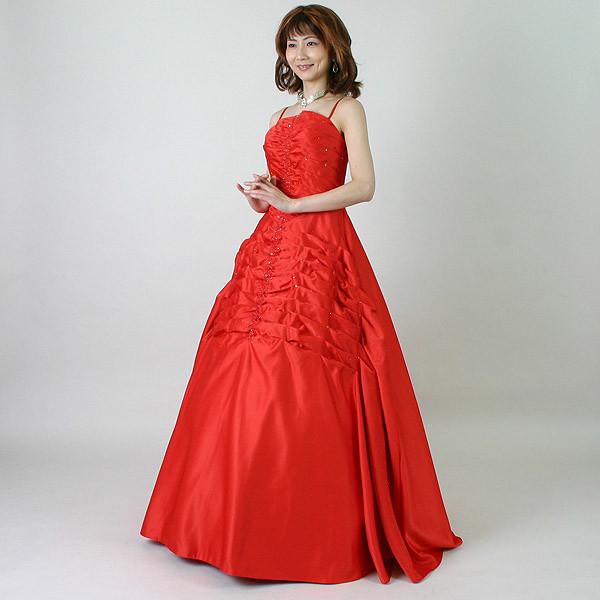 カラードレス 演奏会や発表会のステージ衣装からウエディングに [声楽・ピアノ演奏] サテン 演奏会用ドレス ステージドレス 赤