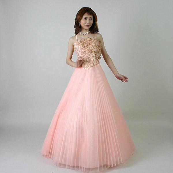 カラードレス/17号/演奏会や発表会のステージ衣装からウエディングに![声楽・ピアノ演奏] カラー:サーモンピンク/演奏会用ドレス/ステージドレス