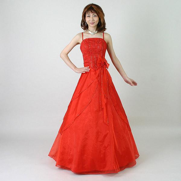 カラードレス11号/演奏会や発表会のステージ衣装からウエディングに![声楽・ピアノ演奏] カラー:赤/演奏会用ドレス/ステージドレス