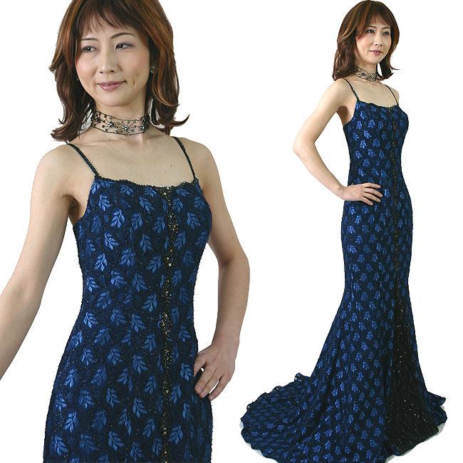 マーメイドのトレーンカラードレス/イブニングドレス/声楽・演奏会用ステージドレス:紺色7号ウェデイングやパーティの夜会服にも