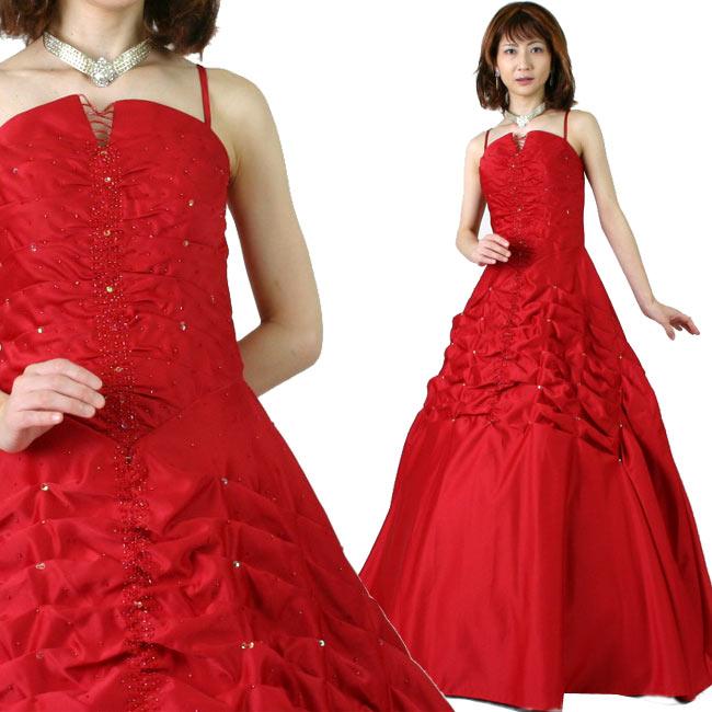 カラードレス 演奏会や発表会のステージ衣装からウエディングに![声楽・ピアノ演奏] サテン演奏会用ドレス ステージドレス ワインレッド