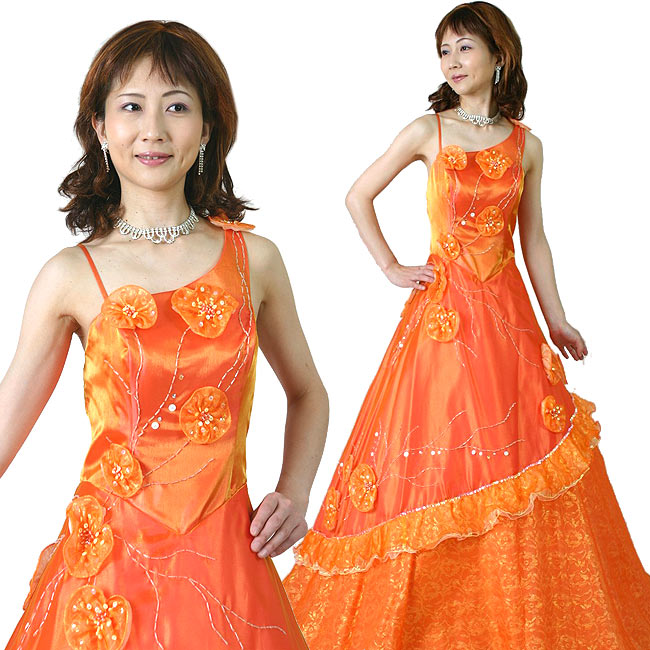 【中古】 カラードレス ロングドレス ピアノ 演奏会 カラオケ 発表会など 舞台 ステージ衣装に オレンジ