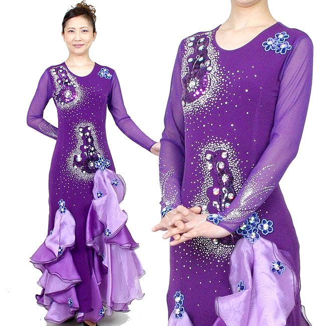 ロングドレス カラオケドレス ダンス衣装 舞台衣装 紫色 パープル