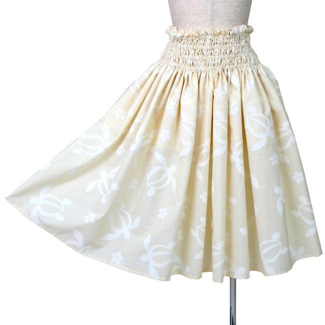 シングルパウスカート 4段ゴム入り フラダンス衣装 ホヌ(海がめ)プルメリア クリーム色 日本製