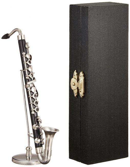 ミニチュア楽器(フィギュア)バスクラリネット 黒 金属製・プラスチック 1/6(13cm) サンライズサウンドハウス(飾り物で音は出ません)