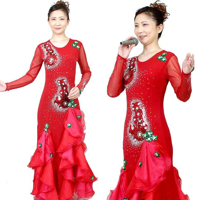 ロングドレス カラオケドレス ダンス衣装 ステージ衣装 赤