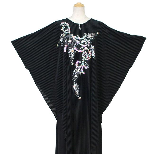 カラオケ衣装 伸縮ニットロングドレスとベロアマントのアンサンブルドレス M-L 黒