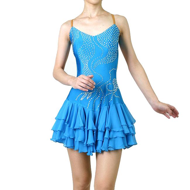 わけあり ダンス衣装 ラテンドレス 水色 Lサイズ 舞台 ステージドレス