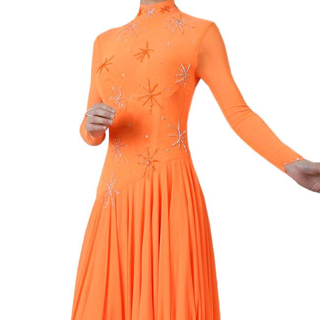 わけあり ダンス衣装 長袖ダンスドレス オレンジ色Lサイズ