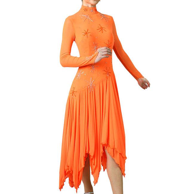 わけあり ダンス衣装 鮮やかオレンジ長袖ダンスドレス 舞台 ステージ衣装