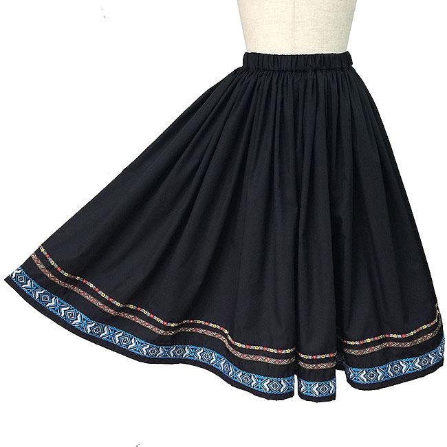 フォークダンス スカート シンプルフォークスカート ダンス衣装 黒 舞台 ステージ衣装 日本製