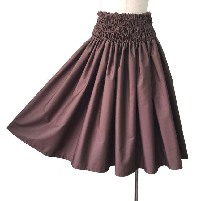 シングル パウスカート 4段ゴム入り フラダンス衣装 ハワイアン T/Cブロード ブラウン 茶色 無地 日本製