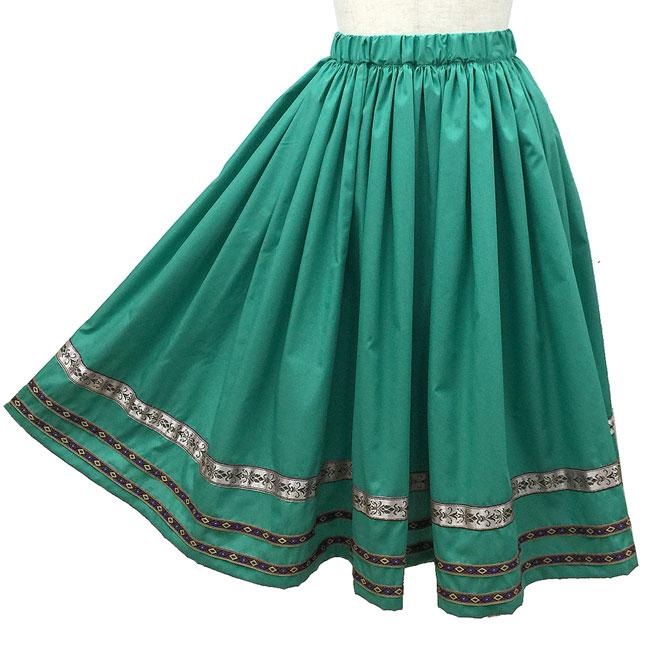 フォークダンス スカート シンプルフォークスカート ダンス衣装 緑(みどり)舞台 ステージ衣装 日本製