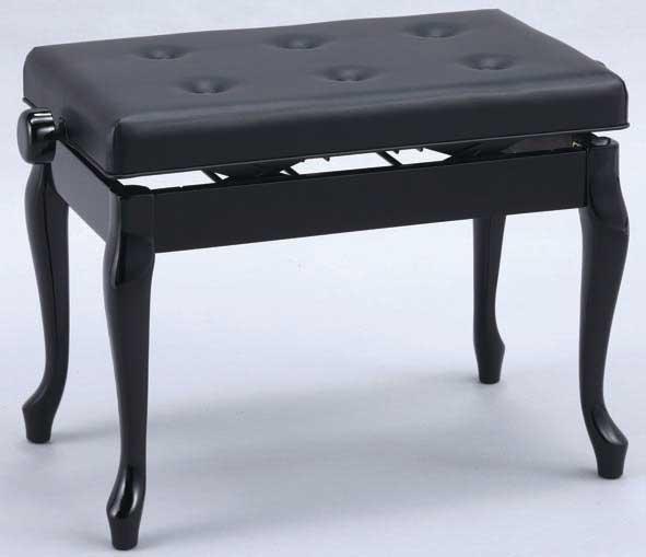 【送料無料】 日本製 高低自在 ピアノ椅子 木製両ハンドル 横幅60cm 猫脚タイプ 甲南 V60-C 黒塗り