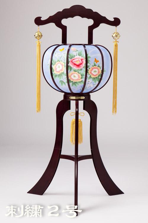 【灯篭】紫檀調|縫い絵|刺繍2号 回転灯 一対/小丸球付【hokkaido_1102_1107】