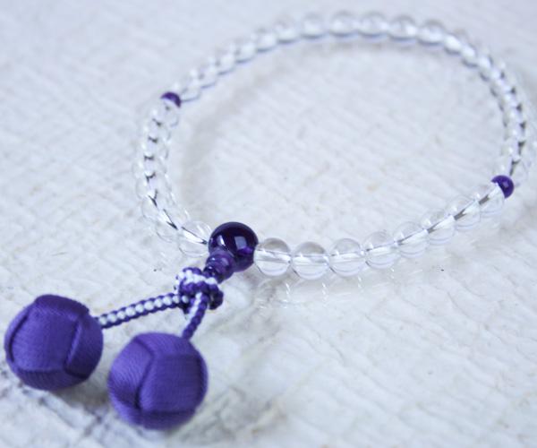 【数珠/念珠】女性用略式念珠 7mmサイズ/本水晶・紫水晶 梵天房【hokkaido_1102_1107】