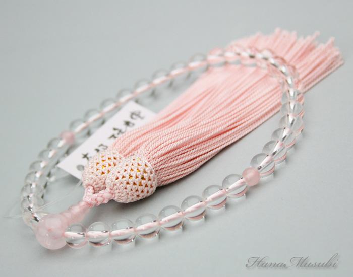 【数珠/念珠】女性用略式数珠 本水晶とローズクォーツ(紅水晶)の数珠 正絹灰桜色頭付房