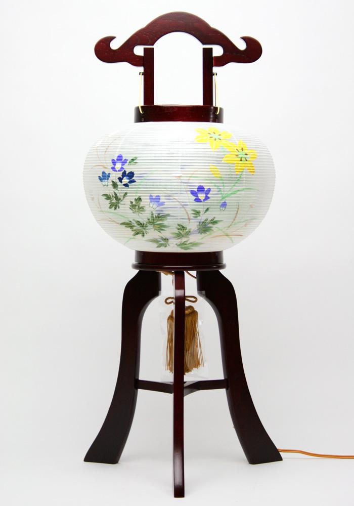 【盆提灯】行灯 木製 ワイン塗10号絹二重絵