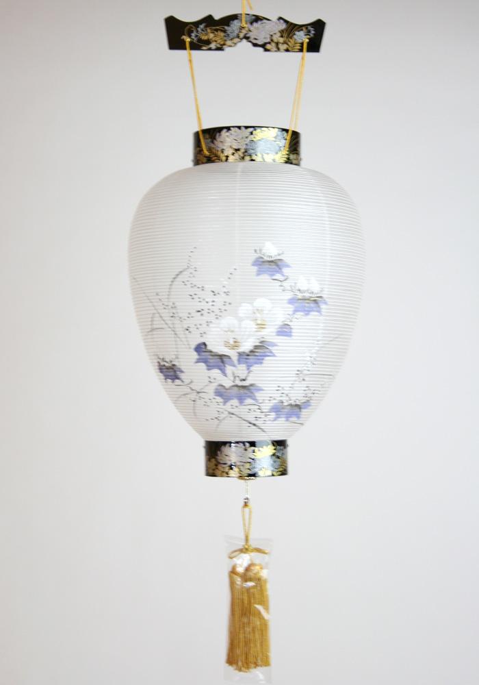 【盆提灯】 壺型 天上蒔絵 吊スイッチ電池灯付 44cm×29cm