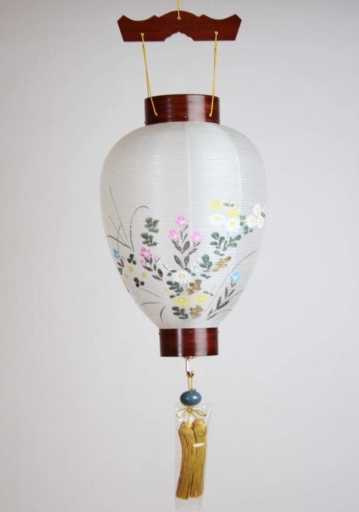 【盆提灯】 壺型 特選かりん 吊スイッチ電池灯付 45cm×29cm
