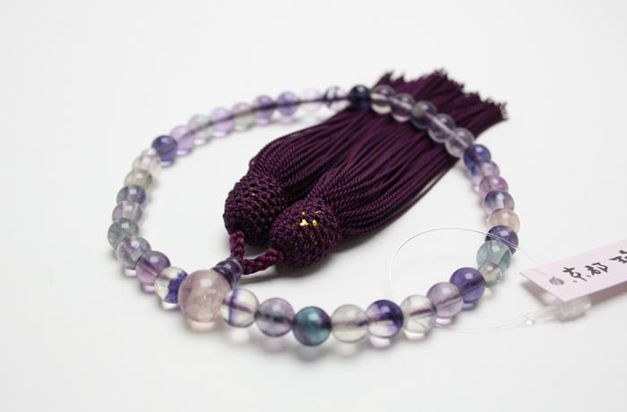 【数珠】女性用略式念珠(数珠) 7ミリ 紫蛍石 正絹房 桐箱/保証書付 【天然石】【念珠】【パワーストーン】