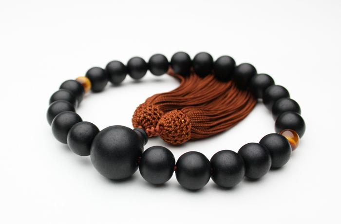 【数珠】男性用略式念珠(数珠)黒檀素挽22玉13ミリ2天虎目石人頭茶 正絹房 【念珠】