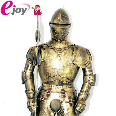 西洋甲冑人形 約幅35CMX奥行32CMX高さ110CM ゴールド 送料無料 (西洋 甲冑 鎧 兜 レプリカ アンティーク調 中世の騎士 ヨーロッパ)