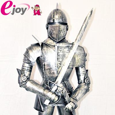 西洋甲冑人形 約幅35CMX奥行32CMX高さ110CM シルバー 送料無料 (西洋 甲冑 鎧 兜 レプリカ アンティーク調 中世の騎士 ヨーロッパ)